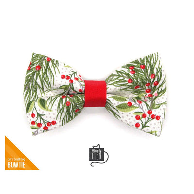 "Holiday Pet Bow Tie - ""Pine & Berries"" - Christmas Berry Garland Bowtie for Pet Collar / For Cats + Small Dogs / Removable (One Size)"