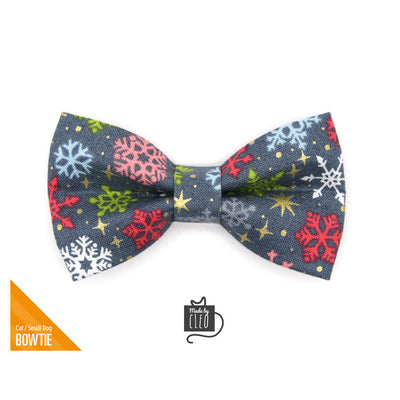"Pet Bow Tie - ""Merry Snowflakes"" - Snow & Stars Holiday Bowtie for Pet Collar / Winter, Christmas / For Cats + Small Dogs / Removable (One Size)"