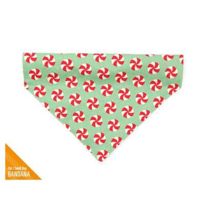 "Pet Bandana - ""Peppermint Twist"" - Red & Green Christmas Candy for Cat + Small Dog / Holiday / Slide-on Bandana / Over-the-Collar (One Size)"