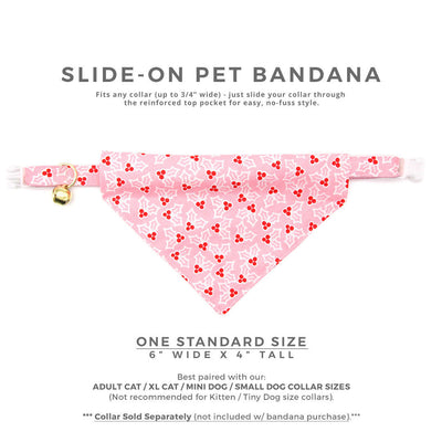 "Pet Bandana - ""Holly Pink"" - Christmas Holly Berry Bandana for Cat + Small Dog / Holiday / Slide-on Bandana / Over-the-Collar (One Size)"