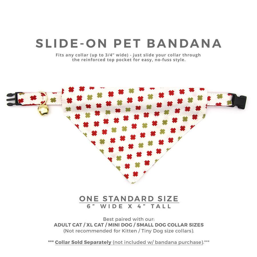 "Pet Bandana - ""Swiss Cross Christmas"" - Red & Green Bandana for Cat + Small Dog / Holiday / Slide-on Bandana / Over-the-Collar (One Size)"