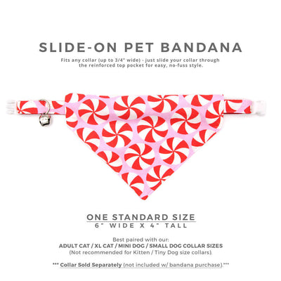 "Pet Bandana - ""Lollipop Pink"" - Christmas Peppermint Candy Bandana for Cat + Small Dog / Holiday / Slide-on Bandana / Over-the-Collar (One Size)"