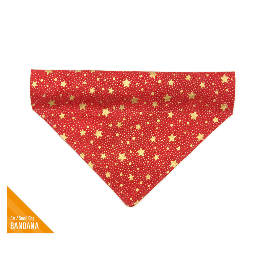 "Pet Bandana - ""Starshine Red"" - Holiday Red & Gold Star Bandana for Cat + Small Dog / Holiday / Slide-on Bandana / Over-the-Collar (One Size)"