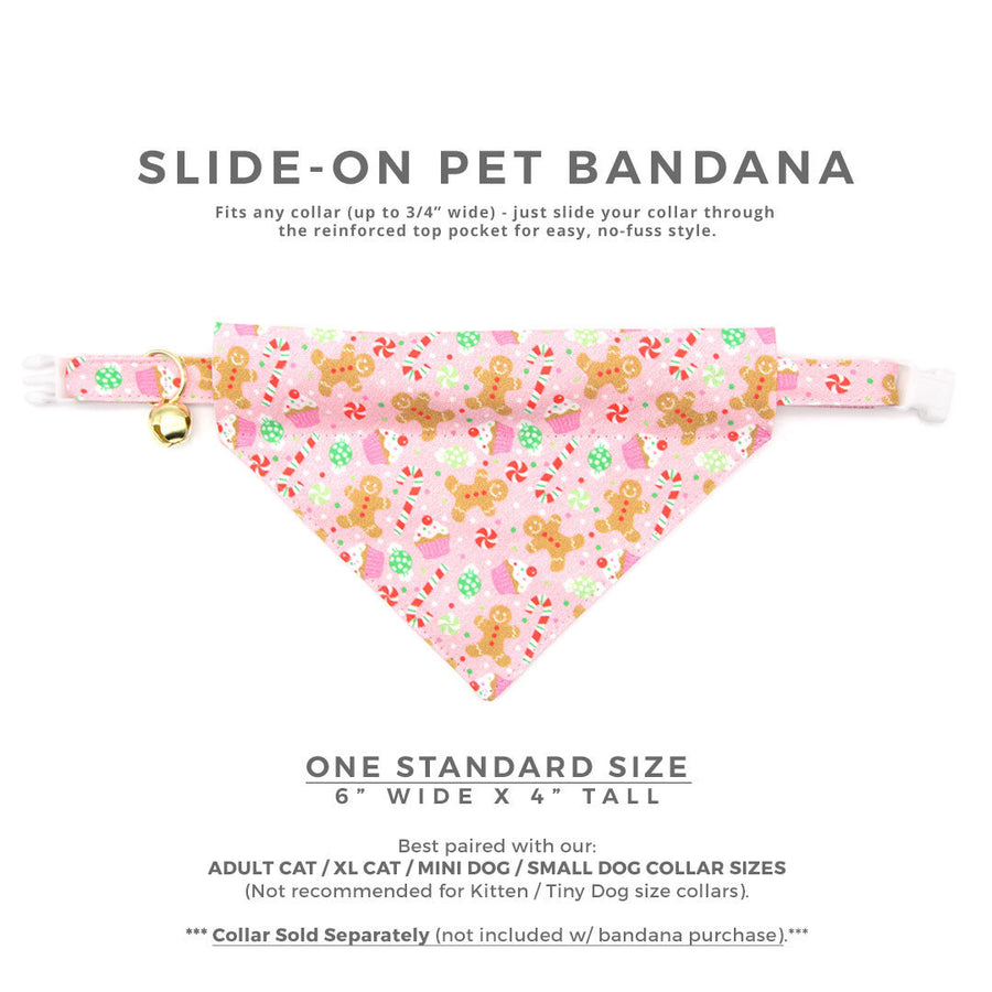 "Pet Bandana - ""Sugar & Spice"" - Pink Gingerbread Bandana for Cat + Small Dog / Holiday / Slide-on Bandana / Over-the-Collar (One Size)"