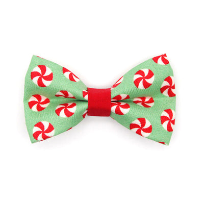 "Bow Tie Cat Collar Set - ""Peppermint Twist"" - Red & Green Holiday Cat Collar w/ Matching Bowtie (Removable)"