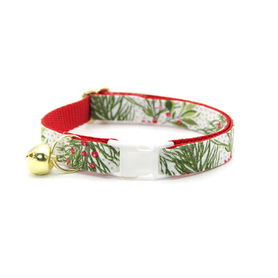 "Bow Tie Cat Collar Set - ""Pine & Berries"" - Holiday Garland Cat Collar w/ Matching Bowtie (Removable)"