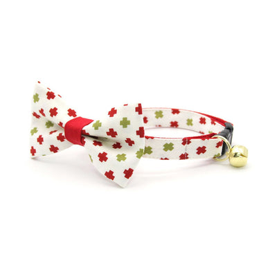 "Bow Tie Cat Collar Set - ""Swiss Cross Christmas"" - Red & Green Holiday Cat Collar w/ Matching Bowtie (Removable)"