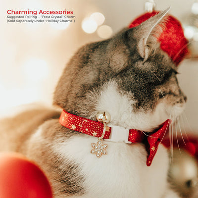 "Bow Tie Cat Collar Set - ""Starshine Red"" - Red & Gold Star Cat Collar w/ Matching Bowtie (Removable)"