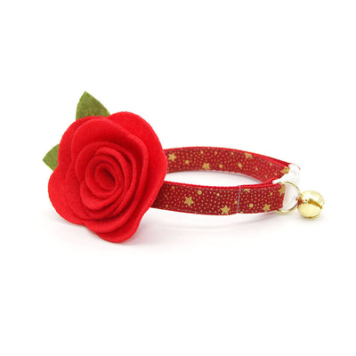 "Cat Collar + Flower Set - ""Starshine Red"" - Red & Gold Star Holiday Cat Collar w/ Scarlet Felt Flower (Detachable)"