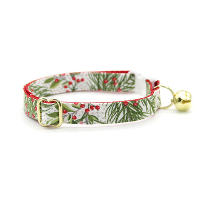 "Cat Collar + Flower Set - ""Pine & Berries"" - Holiday Garland Cat Collar w/ Scarlet Felt Flower (Detachable)"