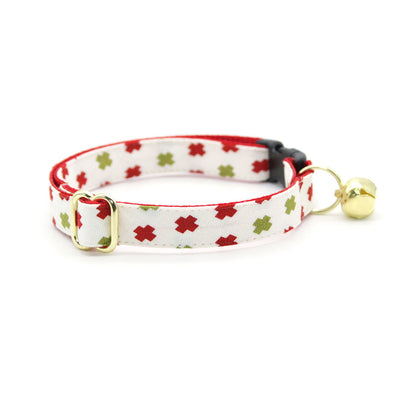 "Cat Collar + Flower Set - ""Swiss Cross Christmas"" - Red & Green Holiday Cat Collar w/ Scarlet Felt Flower (Detachable)"