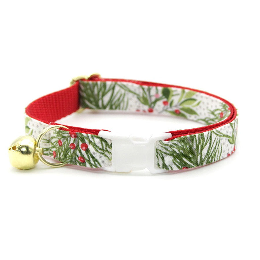 "Christmas Cat Collar - ""Pine & Berries"" - Holiday Garland Cat Collar - Breakaway Buckle or Non-Breakaway / Cat, Kitten + Small Dog Sizes"