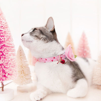 "Holiday Cat Collar - ""Holly Pink"" - Holly Berries Cat Collar - Breakaway Buckle or Non-Breakaway / Cat, Kitten + Small Dog Sizes"
