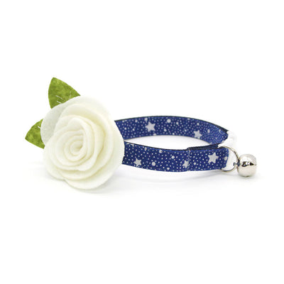 "Holiday Cat Collar - ""Starshine Blue"" - Blue & Silver Star Cat Collar - Breakaway Buckle or Non-Breakaway / Cat, Kitten + Small Dog Sizes"
