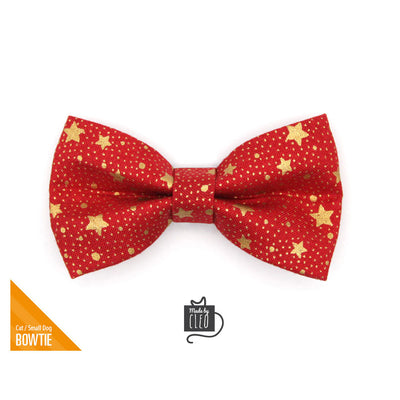 "Pet Bow Tie - ""Starshine Red"" - Red & Gold Star Bowtie for Pet Collar / Christmas / For Cats + Small Dogs / Removable (One Size)"