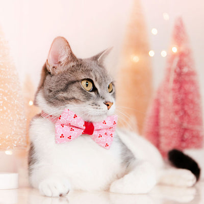 "Holiday Pet Bow Tie - ""Holly Pink"" - Christmas Holly Berry Bow for Pet Collar / Christmas / For Cats + Small Dogs / Removable (One Size)"