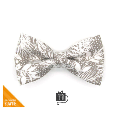 "Pet Bow Tie - ""Snowy Woods"" - Frost Gray Holiday Bowtie for Pet Collar / Winter / For Cats + Small Dogs / Removable (One Size)"
