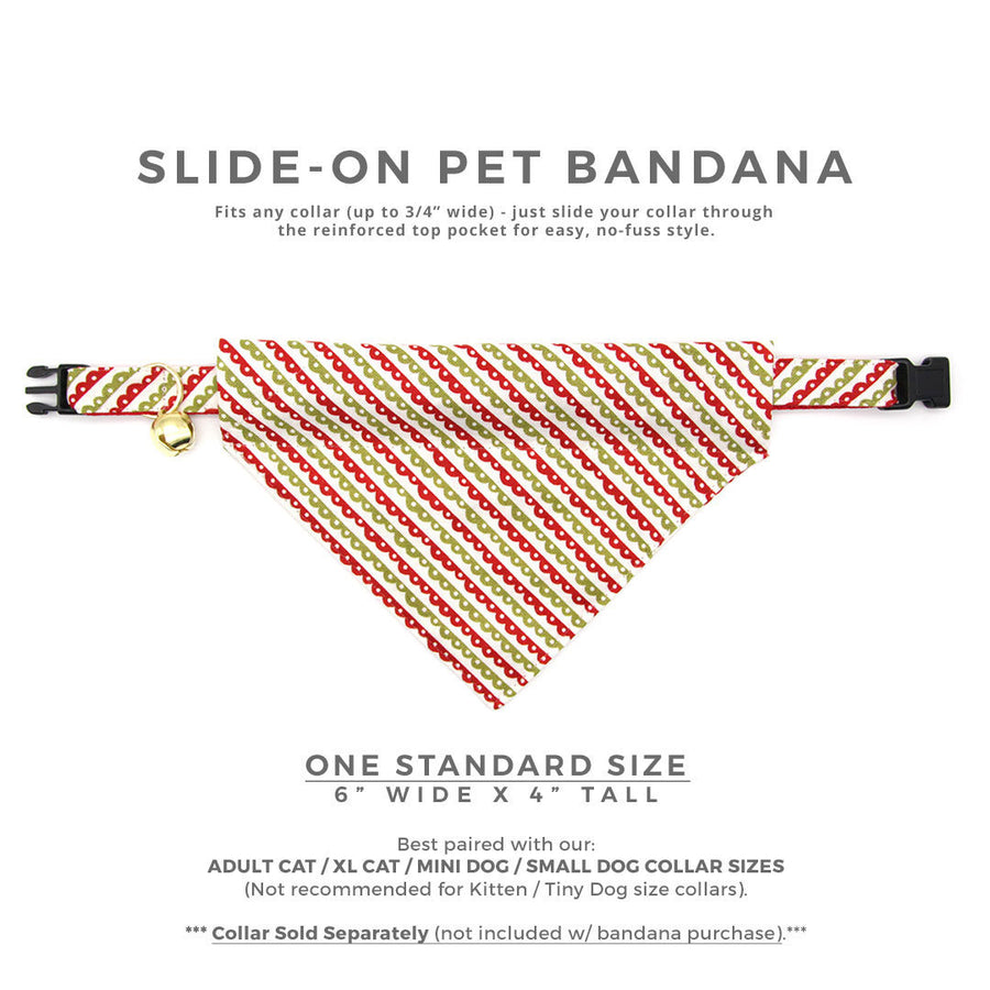"Pet Bandana - ""Victorian Holiday"" - Red & Green Bandana for Cat + Small Dog / Slide-on Bandana / Over-the-Collar (One Size)"