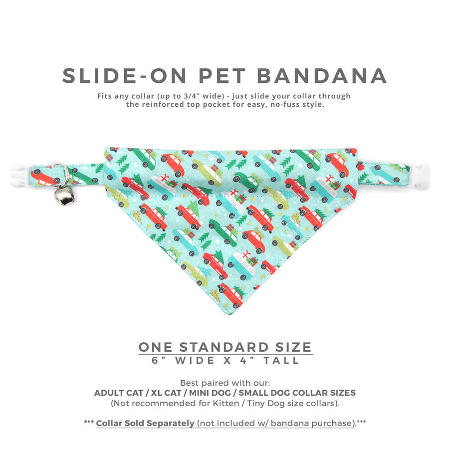 "Pet Bandana - ""Christmas Vacation"" - Bandana for Cat + Small Dog / Holiday / Slide-on Bandana / Over-the-Collar (One Size)"