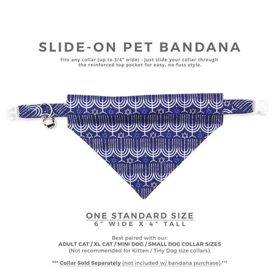 "Pet Bandana - ""Happy Hanukkah"" - Blue & Silver Menorah Bandana for Cat + Small Dog / Slide-on Bandana / Over-the-Collar (One Size)"