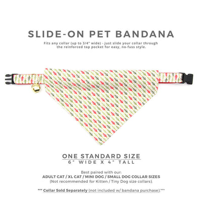 "Pet Bandana - ""Vintage Christmas Trees"" - Red, Green & Gold Bandana for Cat + Small Dog / Holiday / Slide-on Bandana / Over-the-Collar (One Size)"