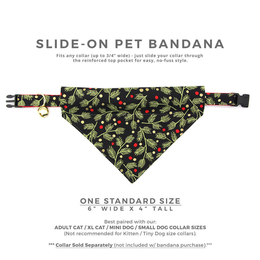 "Pet Bandana - ""Winter Garland Night"" - Black Mistletoe Bandana for Cat + Small Dog / Holiday / Slide-on Bandana / Over-the-Collar (One Size)"