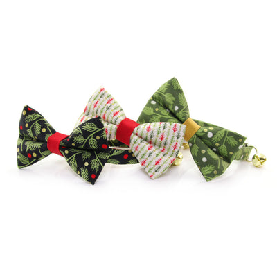 "Pet Bandana - ""Winter Garland Forest"" - Green Mistletoe Bandana for Cat + Small Dog / Holiday / Slide-on Bandana / Over-the-Collar (One Size)"