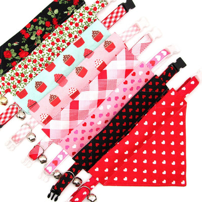 "Pet Bandana - ""Candy Hearts"" - Pink Heart Bandana for Cat + Small Dog / Valentine's Day Cat Bandana / Slide-on Bandana / Over-the-Collar (One Size)"