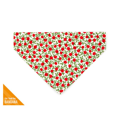 "Pet Bandana - ""Antique Rose"" - Red Rose Bandana for Cat + Small Dog / Valentine's Day Cat Bandana / Slide-on Bandana / Over-the-Collar (One Size)"