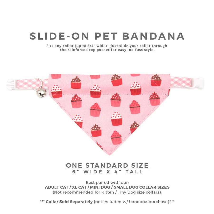 "Pet Bandana - ""Hey Cupcake - Pink"" - Valentine's Day Cupcake Bandana for Cat + Small Dog / Birthday / Slide-on Bandana / Over-the-Collar (One Size)"