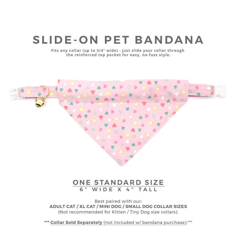"Pet Bandana - ""Confetti Hearts"" - Pastel Pink Heart Bandana for Cat + Small Dog / Valentine's Day Cat Bandana / Slide-on Bandana / Over-the-Collar (One Size)"
