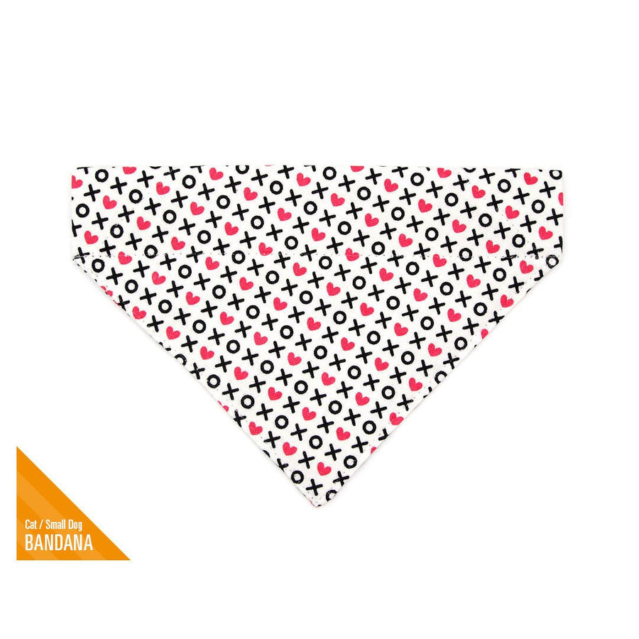"Pet Bandana - ""XOXO Hearts"" - Hugs & Kisses Heart Bandana for Cat + Small Dog / Valentine's Day Cat Bandana / Slide-on Bandana / Over-the-Collar (One Size)"
