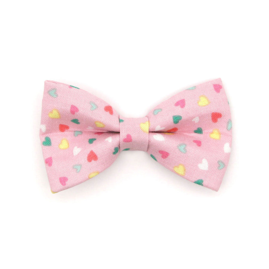 "Pet Bow Tie - ""Confetti Hearts"" - Pastel Pink Heart Bow Tie for Cats + Small Dogs (One Size) / Cat Bow Tie / Valentine's Day / Birthday"