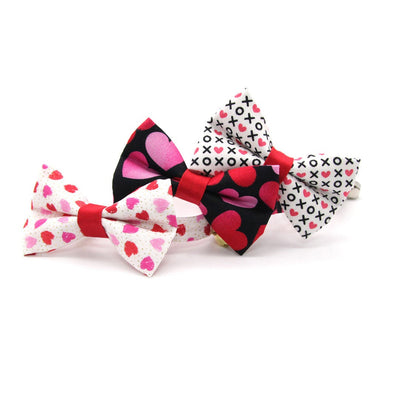 "Cat Collar - ""Smitten"" - Red & Pink Heart Cat Collar / Valentine's Day / Breakaway Buckle or Non-Breakaway / Cat, Kitten + Small Dog Sizes"