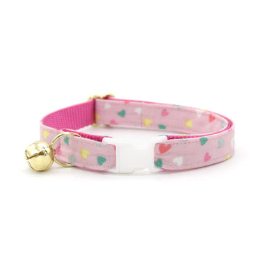 "Bow Tie Cat Collar Set - ""Confetti Hearts"" - Pastel Pink Heart Cat Collar w/ Matching Bowtie / Valentine's Day / Cat, Kitten, Small Dog Sizes"