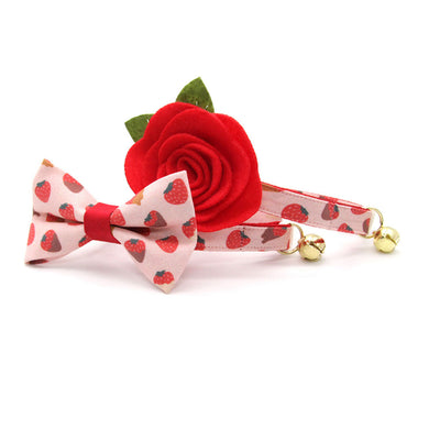 "Cat Collar + Flower Set - ""Chocolate Strawberries"" - Strawberry Cat Collar w/ Scarlet Red Felt Flower (Detachable) / Valentine's Day"