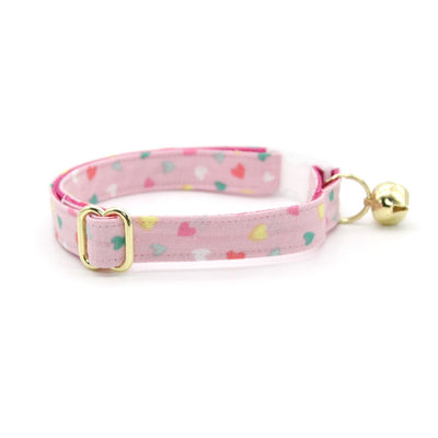 "Cat Collar + Flower Set - ""Confetti Hearts"" - Pastel Pink Heart Cat Collar w/ Fuchsia Pink Felt Flower (Detachable) / Valentine's Day"