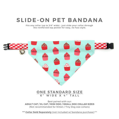 "Pet Bandana - ""Hey Cupcake - Mint"" - Valentine's Day Cupcake Bandana for Cat + Small Dog / Birthday / Slide-on Bandana / Over-the-Collar (One Size)"