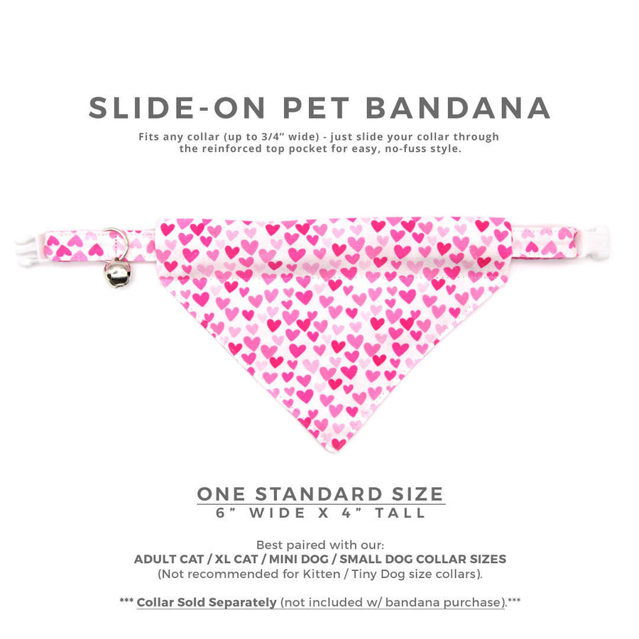 "Pet Bandana - ""Darling"" - Fuchsia Pink Heart Bandana for Cat + Small Dog / Valentine's Day Cat Bandana / Slide-on Bandana / Over-the-Collar (One Size)"