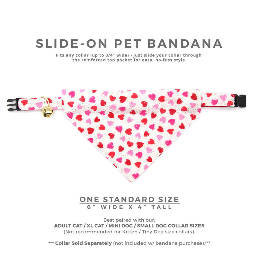 "Pet Bandana - ""Smitten"" - Red & Pink Heart Heart Bandana for Cat + Small Dog / Valentine's Day Cat Bandana / Slide-on Bandana / Over-the-Collar (One Size)"