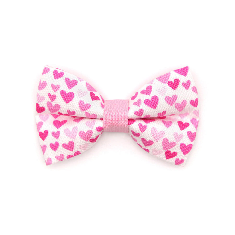 "Pet Bow Tie - ""Darling"" - Fuchsia Pink Heart Bow Tie for Cats + Small Dogs (One Size) / Cat Bow Tie / Valentine's Day"
