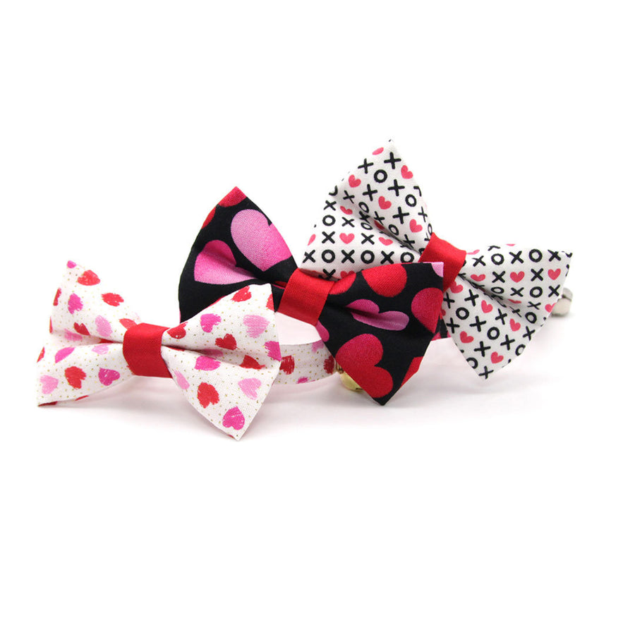 "Bow Tie Cat Collar Set - ""Smitten"" - Red & Pink Heart Cat Collar w/ Matching Bowtie / Valentine's Day / Cat, Kitten, Small Dog Sizes"