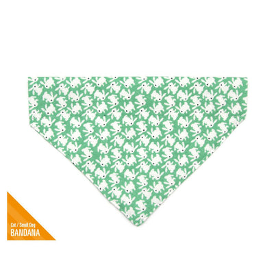 "Easter Pet Bandana - ""Hoppy Hour Green"" - Bunny Rabbit Bandana for Cat Collar or Small Dog Collar / Slide-on Bandana / Over-the-Collar (One Size)"