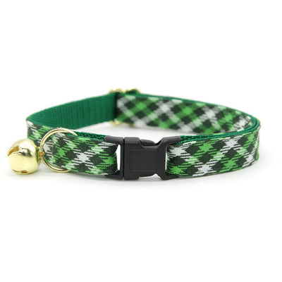 "Plaid Cat Collar - ""Emerald Isle"" - Green Cat Collar / Breakaway Buckle or Non-Breakaway / Cat, Kitten + Small Dog Sizes"