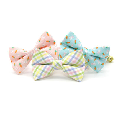 "Pet Bow Tie - ""Bunnies & Carrots Blue"" - Light Aqua Bunny Bow Tie / Easter, Spring / For Cats + Small Dogs (One Size)"