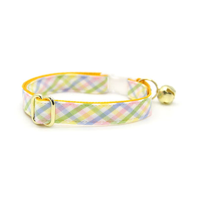 "Bow Tie Cat Collar Set - ""Picnic"" - Spring Yellow Plaid Cat Collar w/ Matching Bowtie / Easter / Cat, Kitten, Small Dog Sizes"