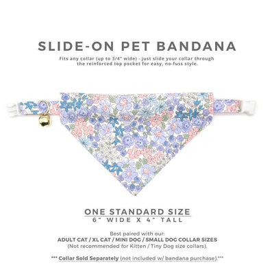 "Pet Bandana - ""Willow"" - Light Pink, Blue & Purple Floral Bandana for Cat Collar or Small Dog Collar / Slide-on Bandana / Over-the-Collar (One Size)"