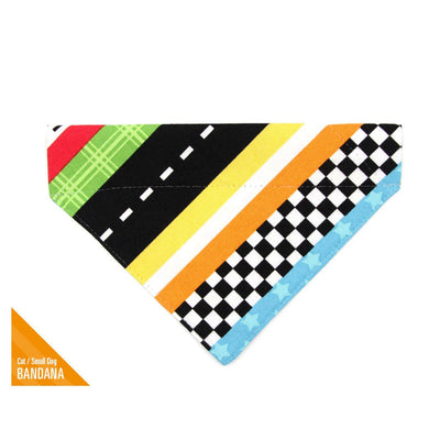 "Pet Bandana - ""Speed Racer"" - Racing Bandana for Cat + Small Dog / Slide-on Bandana / Over-the-Collar (One Size)"
