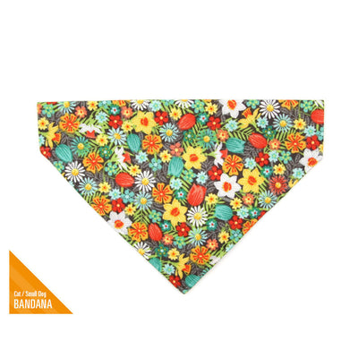 "Pet Bandana - ""Flower Child"" - Vintage Vibe Floral Bandana for Cat + Small Dog / Slide-on Bandana / Over-the-Collar (One Size)"