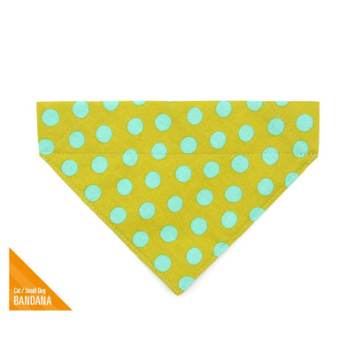 "Pet Bandana - ""Pop Rocks - Chartreuse"" - Green + Aqua Polka Dot Bandana for Cat + Small Dog / Slide-on Bandana / Over-the-Collar (One Size)"